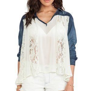 Free People Swing Swing Denim and Lace Top